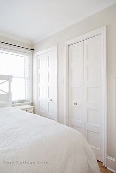 Cozy.Cottage.Cute.: Shaker Style Bi-Folds for the Master Bedroom Closets