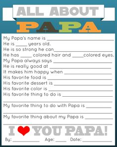 grandpa gifts A great and personal gift for Daddy is this All About Daddy printable questionnaire for your kids to fill out.
