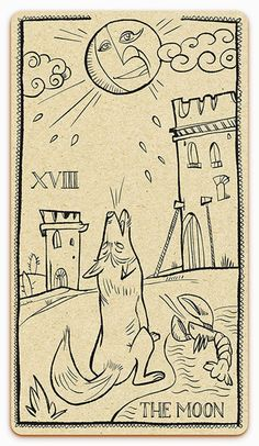 Tarot card - The moon inked version - illustration by Cesare Asaro - Curio & Co. (Curio and Co. OG - www.curioandco.com)
