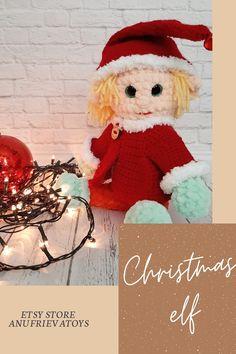 Crochet Animal Patterns, Amigurumi Patterns, Handmade Toys, Etsy Handmade, Amazing Toys, Popular Crochet, Crochet For Boys, Etsy Business, Christmas Elf