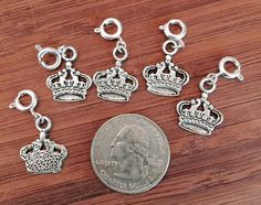 5 pcs ~ Crown antique silver tone charms ready to hang with lobster clasps by BuildUrBling on Etsy