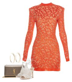 """""""Coral-effect knit dress"""" by sweetmel99 on Polyvore featuring Yves Saint Laurent, Balmain, Gianvito Rossi e Lana"""