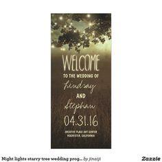 Night lights starry tree wedding programs full colour rack card