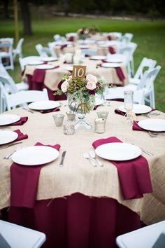 maroon and burlap wedding table decor   #wedding #weddingideas #countryweddings