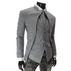New Men's Unique Asymmetrical Blazer/Vest Combo