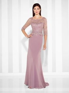 mon cheri bridals 117617 - Chiffon slim A-line gown with hand-beaded scalloped lace illusion three-quarter length sleeves and scalloped Sabrina neckline, beaded sweetheart bodice with scalloped peplum waistline, lace illusion back, sweep train.