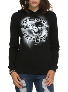 Black pullover hoodie with spray paint stencil style A7X death bat logo design on front.