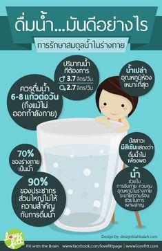การดื่มน้ำ สิ่งสำคัญที่มองข้ามไม่ได้ Health Eating, Health Diet, Health And Nutrition, Health Fitness, Healthy Facts, Good Healthy Recipes, Heath And Fitness, Tips & Tricks, Health Education