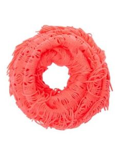 Fringed Open Knit Infinity Scarf ~