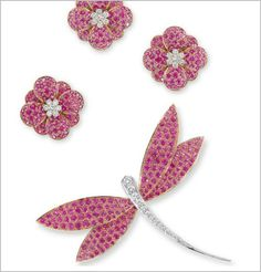 A GROUP OF PINK SAPPHIRE AND DIAMOND JEWELLERY, BY VAN CLEEF & ARPELS