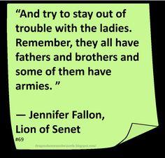 ♥ Jennifer Fallon ♥ ~ #Quote #Author #LOL