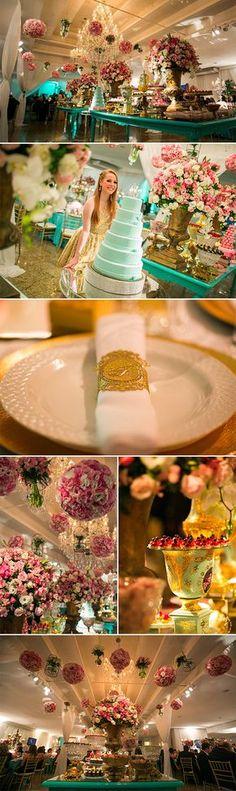 Festas | Aniversário 15 anos Tiffany, Rosa e Dourado
