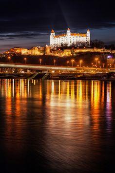 Bratislava Castle after dark, Slovakia