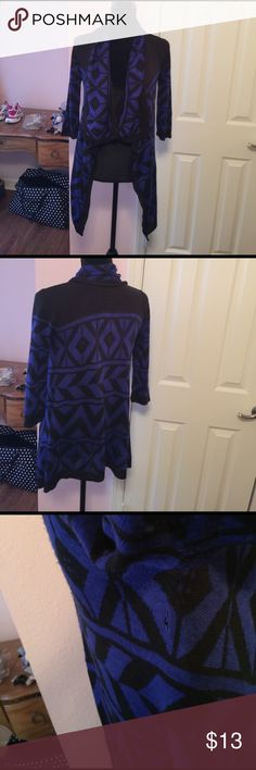 🌺🍁Very Nice Cardigan Sweater 🍁🌺 Preowned, good condition, gently worn, has scrape underneath right arm that is not noticeable. 100% Acrylic. Lightweight Cardigan.Colors are royal blue and black. Say What? Sweaters Cardigans