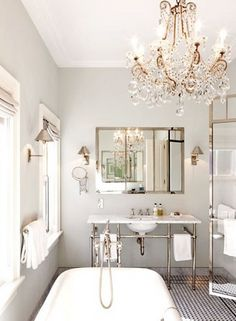 chandelier in the bathroom #lights #beautiful #EPiC #interiors #products #bright #decor #stylish #design