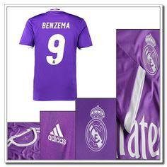 0e3b859a13 5 Sterne Real Madrid Auswärtstrikot BENZEMA 9 Adidas Lila 2016 2017