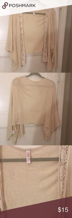 Beige sweater/wrap with floral lace detail XXL Beige sweater/wrap with floral lace detail XXL gently worn in great condition Tops Camisoles