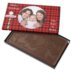 Red Plaid, Christmas, Custom Photo Chocolate Box 2 Pound Milk Chocolate Bar Box