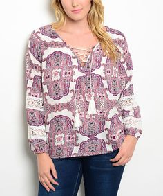 Another great find on #zulily! Ivory & Plum Lace-Up Tassel Top - Plus #zulilyfinds
