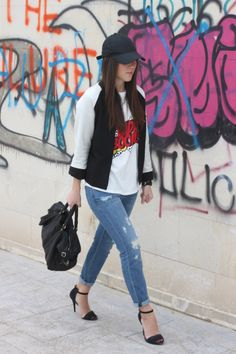 baseball jacket and cap street style outfit by My Fashion Mirror