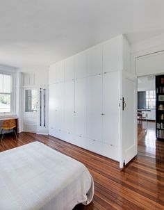 I love the idea of using the closet to separate two upstairs bedrooms.  It leaves the exterior walls open for windows.