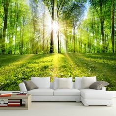 Cheap landscape murals, Buy Quality murales de pared directly from China photo wallpapers forest Suppliers: Photo Wallpaper Forest Sunshine Nature Landscape Mural Living Room Bedroom TV Sofa Backdrop Wall Covering Murales De Pared 3d Nature Wallpaper, Landscape Wallpaper, Photo Wallpaper, Wall Wallpaper, Wallpaper Wallpapers, Tv In Bedroom, Bedroom Murals, Bedroom Sofa, Tree Design On Wall