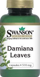 """Damiana Leaves 510 mg 100 Caps by Swanson Premium. $10.25. A """"female tonic"""" that promotes a healthy reproductive system. Heightens the prospect of sexual pleasure. Also used to maintain healthy respiration. Don't let the love light burn out--turn up the heat with the south-of-the-border secret to sexual satisfaction! For hundreds of years, damiana leaves have been popular throughout Mexico and much of Central America as a natural way to boost sexual energy for both men a..."""