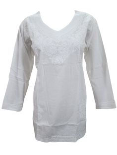 Mogul Boho Indian Kurta White Tunic Tops Floral Embroidered Cotton Summer Blouse L