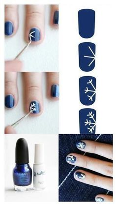 Love this.. Perfect winter themed nails!!