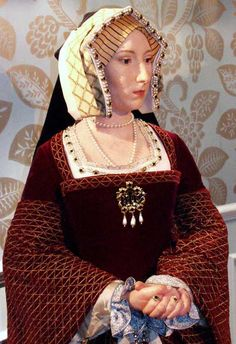 Jane Seymour wax figure. 3rd wife of Henry VIII. Motto: 'Bound to obey and serve'