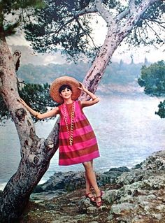 Seventeen April 1961 Sleeveless two-way striped pink dress