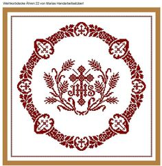 Weihkorbdecken Zählvorlage - Weihkorbdecken - Themen Cross Stitch Embroidery, Hand Embroidery, Embroidery Patterns, Cross Stitch Patterns, Lost Art, Crochet Doilies, Knitting Projects, Needlework, Diy And Crafts