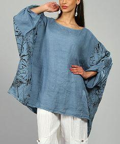 Blue Ariell Linen Tunic by 100% LIN BLANC #zulily #zulilyfinds