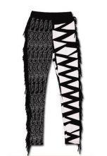Black White Tassel Mid Waist Cotton Pant $31.04