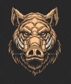 Head of Ferocious Boar Cow Tattoo, Tattoo Art, Buffalo Tattoo, Hunting Tattoos, Pig Drawing, Kunst Tattoos, Pig Art, Wild Boar, Head Tattoos