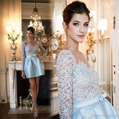 Zuhair Murad 2015 Sexy Sheer Lace Long Sleeves Homecoming Dresses With See Through Taffeta Short Mini Skirt Cocktail Party Dresses Ah429 Nice Cocktail Dresses Off Shoulder Cocktail Dress From Sweetdresses, $116.21  Dhgate.Com