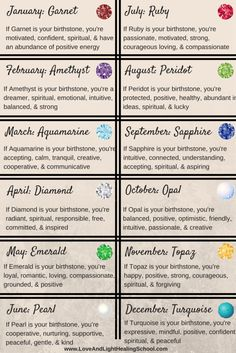 Birthstone Meanings - People have been wearing and using Zodiac stones and birthstones for thousands of years. In modern day, we often use these terms interchangeably, but they actually have very different origins and. Astrology Zodiac, Zodiac Signs, Gemini Zodiac, Taurus, Crystals And Gemstones, Stones And Crystals, Birthstones Meanings, Birthstones By Month, Healing School