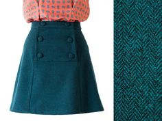 A-line wool skirt with buttons - Vintage style tweed skirt - Flared green wool skirt with buttons - Green and black herringbone wool skirt