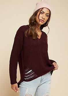 29837075f9e2ee Dark Purple Ripped High Low V Neck Sweater Rue 21