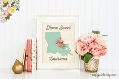 Home Sweet Louisiana - Rustic Aqua Watercolor Flowers Louisiana Home is Where the Heart Is - Home Sweet Home Decor - INSTANT DOWNLOAD - 302