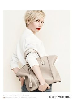 65fc9dc17b Love the bag and Pixie hair cut! Michelle Williams for Louis Vuitton -  Harper s BAZAAR