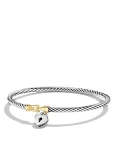 David Yurman Cable Collectibles Heart Lock Bracelet with Gold | Bloomingdale's