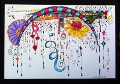 Zenspirations/Dangles by Sue Clark, Certified Zentangle Teacher CZT....In the style of J. Fink.