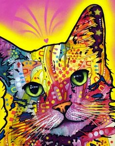 And Still Just One Last Colorful Abstract Cat Painting
