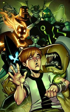So this is the finished Ben 10 picture I've been working on. Ben 10 and His Posse Ben 10 Alien Force, Cartoon Network Shows, Cartoon Shows, Ben 10 Comics, Ben 10 Ultimate Alien, Minecraft Drawings, Ben Tennyson, Night Sky Painting, Ben 10 Omniverse