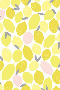 Pink lemonade by shelbyallison. Lemons in three shades of yellow. Beautiful bold shapes. Available in fabric, wallpaper and gift wrap.