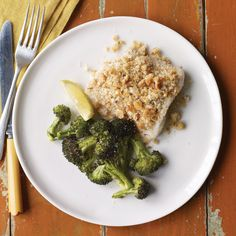 Crispy breadcrumbs give baked fish an enticing texture. Find Portuguese rolls in the bread bins at the supermarket. If you like, save time by roasting the broccoli for later use in another dish.