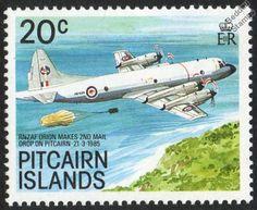 RNZAF Lockheed P-3 ORION (Mail Drop) Aircraft Mint Stamp (1989 Pitcairn Islands)