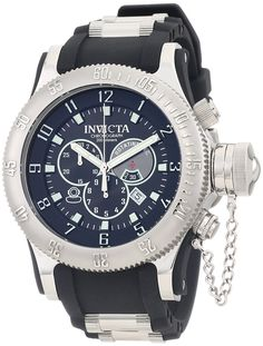 Invicta Men's 0803 Russian Diver Offshore Chronograph Black Dial Black Polyurethane Watch -- Read more  at the image link.