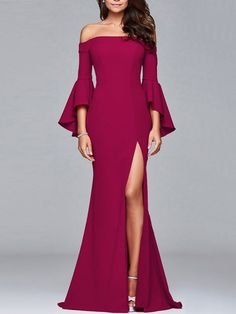 Off Shoulder High Slit Bell Sleeve Plain Evening Dress